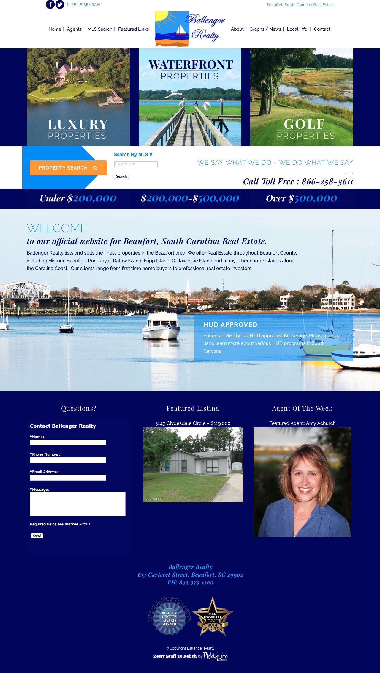 Ballenger Realty Web Design   Beaufort, South Carolina Real Estate Logo   PickleJuice Productions