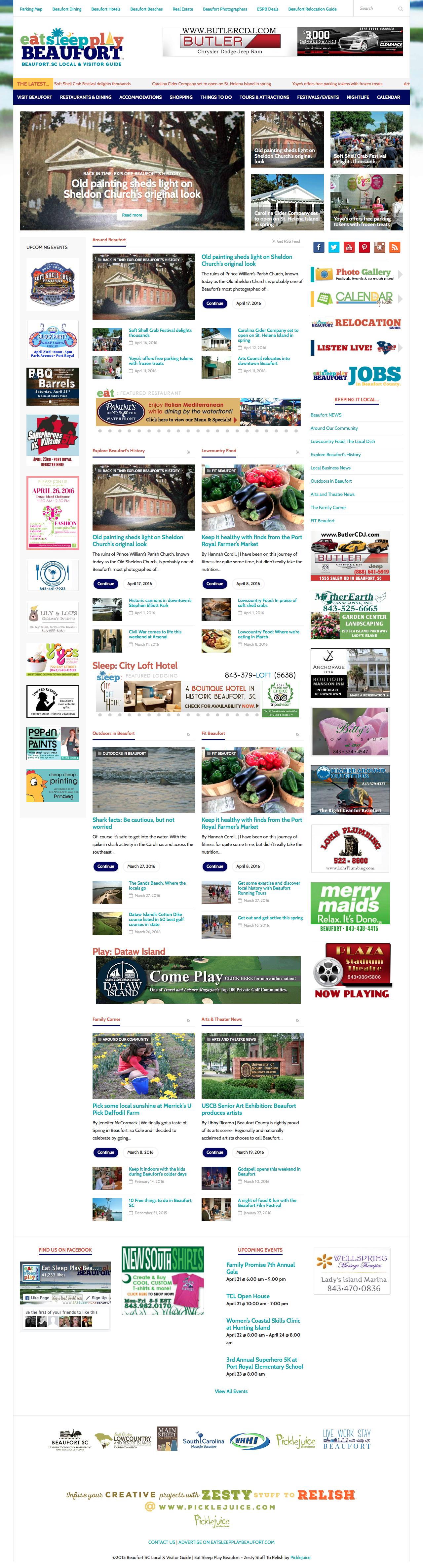 Beaufort Web Design | EatSleepPlayBeaufort | PickleJuice Productions