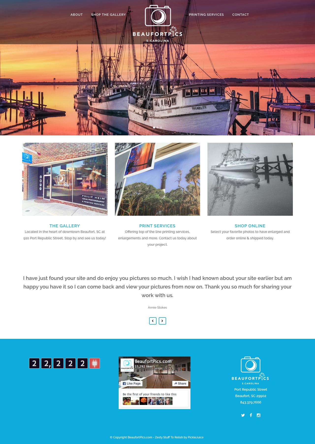 Beaufort Website Design | BeaufortPics.com | PickleJuice Productions