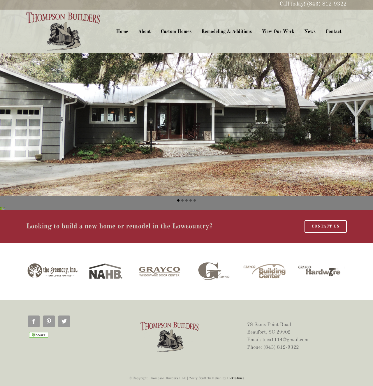 Thompson builders sc picklejuice award winning web for Home builders south carolina