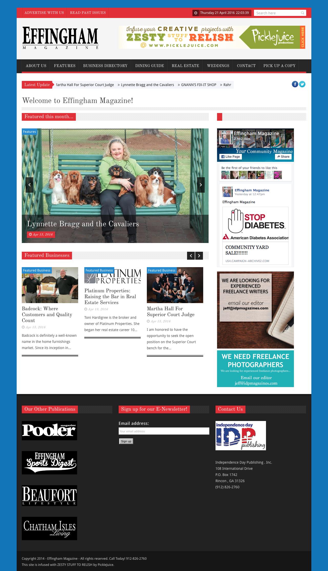 Effingham Magazine Web Design | PickleJuice Productions