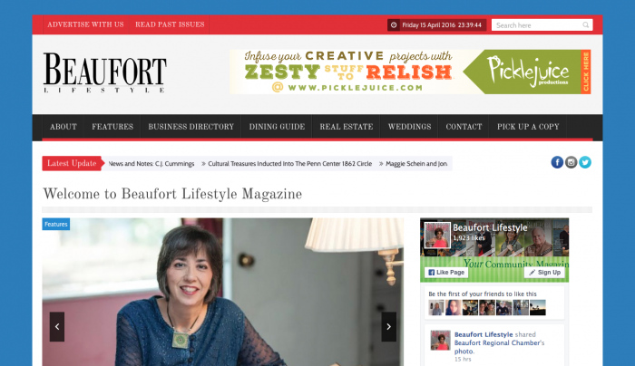 Beaufort Lifestyle Magazine Web Design | PickleJuice Productions
