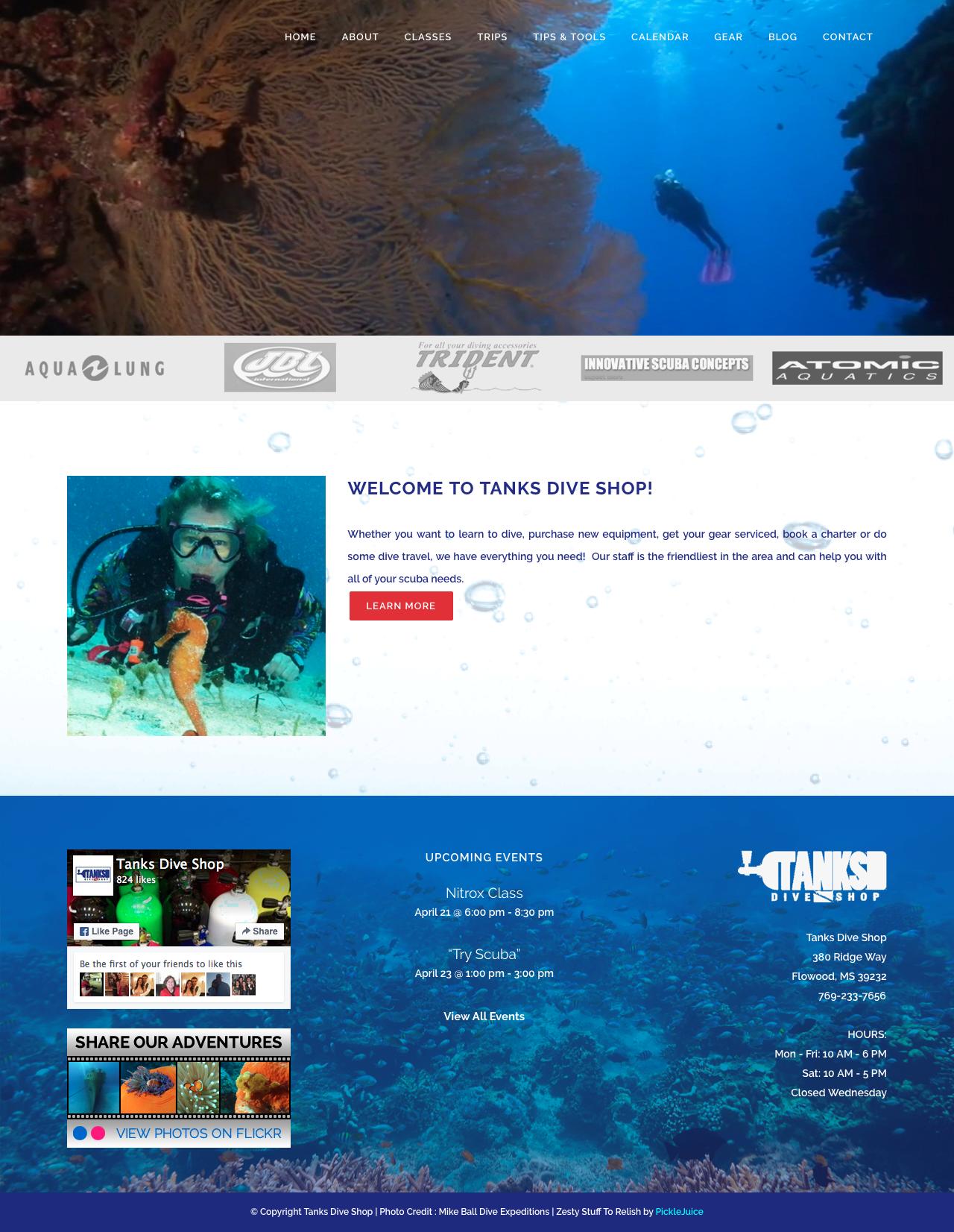 Scuba Dive Shop Web Design | PickleJuice Productions