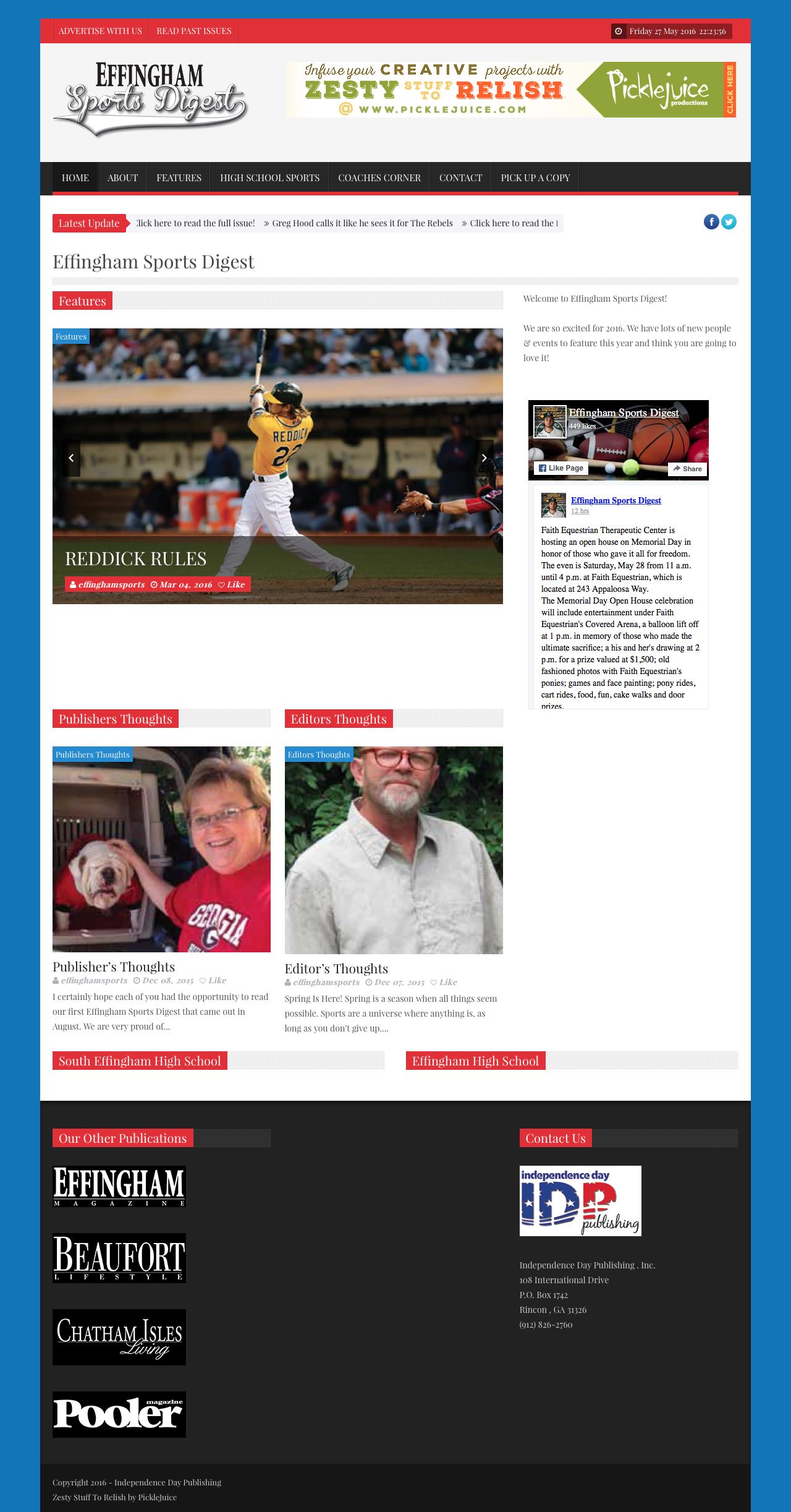 Effingham Sports Digest Web Design | PickleJuice Productions