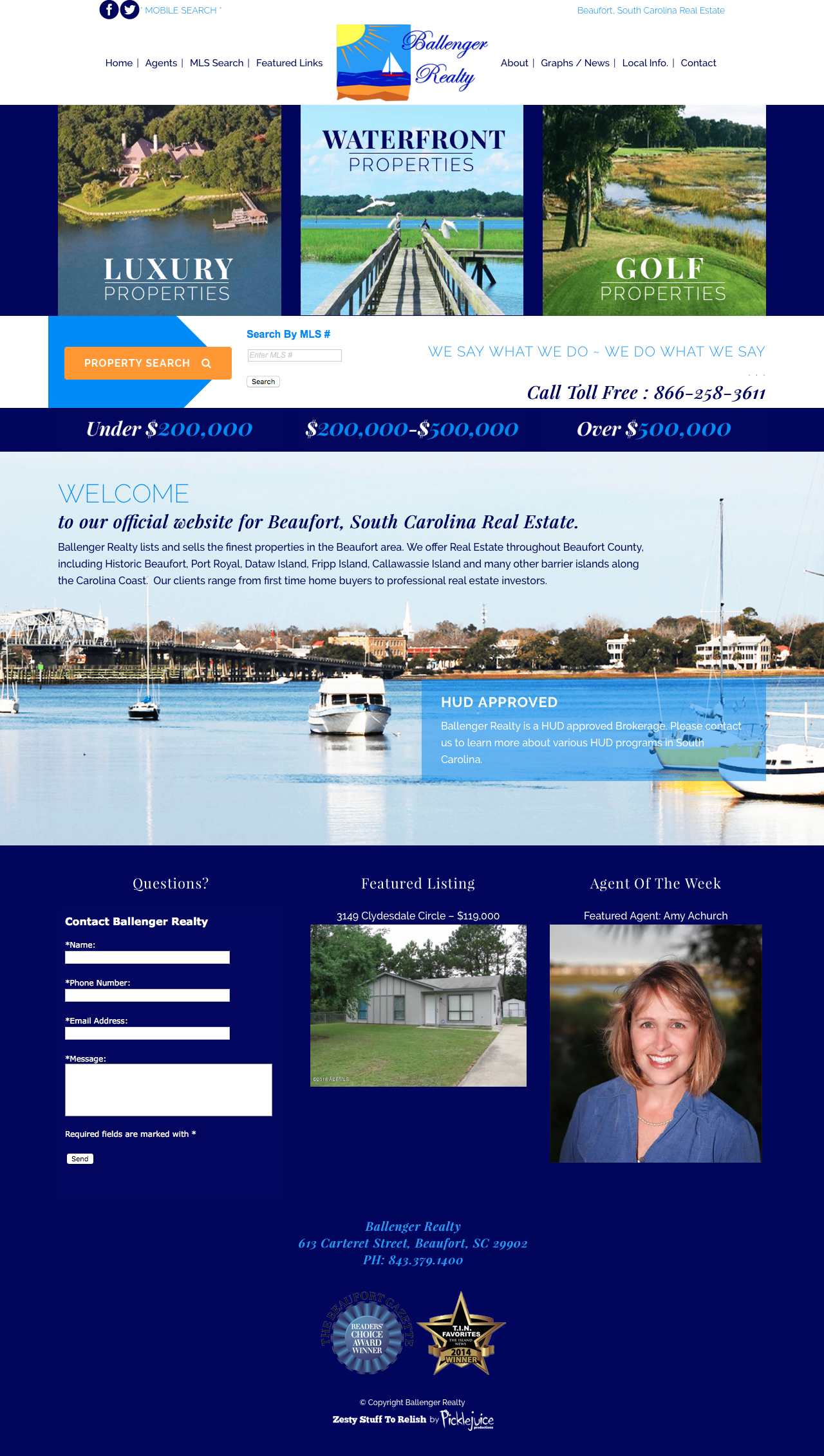 Ballenger Realty Web Design | Beaufort, South Carolina Real Estate Logo | PickleJuice Productions