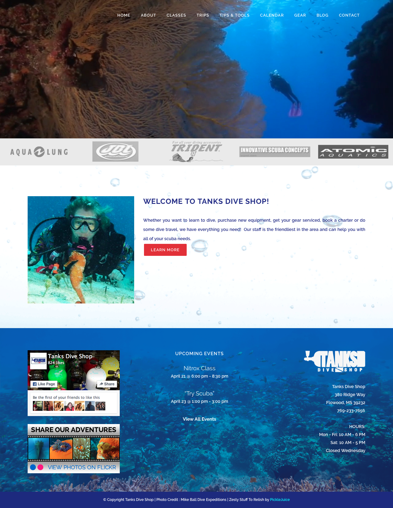 Scuba Dive Shop Web Design | PickleJuice Productions