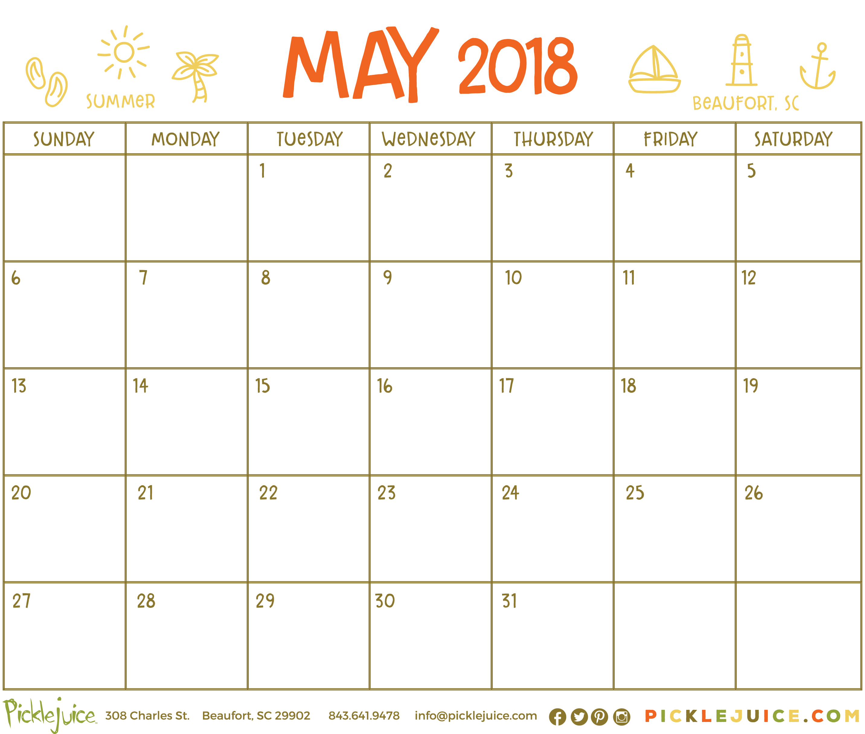 Beaufort Summer 2018 Calendar - May 2018